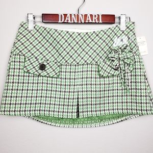 Abercrombie & Fitch green houndstooth mini skirt